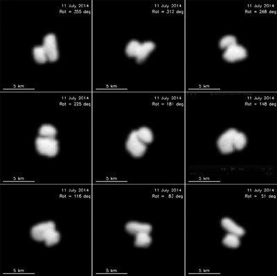 Jeden z prvých záberov jadra kométy  67P/Churyumov-Gerasimenko získané z paluby sondy Rosetta počas približovacej fázy ku kométe.