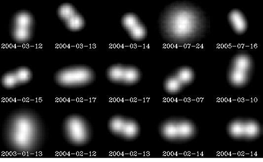 Kontaktný binar asteroid Antiope pozorovaný ďalekohľadom VLT, ktorý vďaka adaptívnej optike rozlíšil, že asteroid sa skladá z dvoch takmer identických častí.
