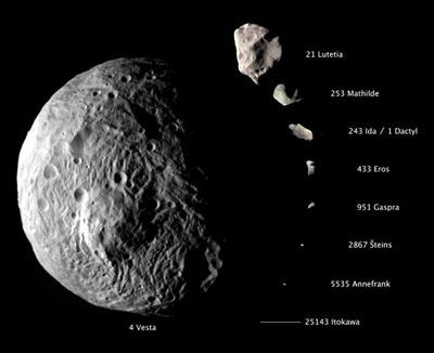 Porovnanie rozmerov asteroidov navštívených kozmickými sondami.
