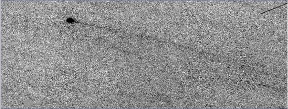 Negatív snímku kométy hlavného pásu 133P/Elst-Pizarro. Teleso sa pohybuje po asteroidálnej dráhe vo vnútri hlavného pásu, no zároveň za nim pozorujeme dlhý prachový chvost.