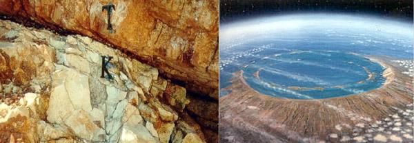 Na viacerých miestach na svete sa našla v horninách tenká tmavá vrstva prachu a sadzí, obohatená o vzácne prvky (K-T rozhranie). Je to dôkaz o dopade veľkého kozmického telesa pred 65 miliónmi rokov. Vpravo je ilustrácia krátera Chicxulub, ako vyzeral relatívne krátko po dopade.