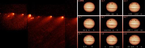 Vľavo – na snímke z Hubblovho ďalekohľadu sú fragmenty rozpadnutej kométy 137P/Shoemaker-Levy 9. Vpravo – séria snímok, ktorá ukazuje stopy po kolízii fragmentov s Jupiterom v roku 1994 (AGO Modra FMFI UK).