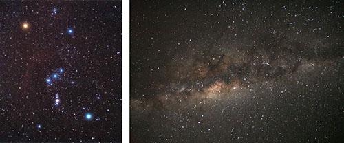 Obrázek 5: Pointovaná širokoúhlá fotografie. Vlevo: souhvězdí Orion, vpravo: Mléčná dráha v létě.