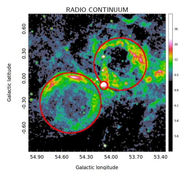 Obrázek 5: Jeden ze zkoumaných systémů srážejících se bublin v rádiovém kontinuu. V místě srážky bublin lze pozorovat jasnou oblast, která odpovídá bublině s označením N116+N117 (L. Zychová, S. Ehlerová).
