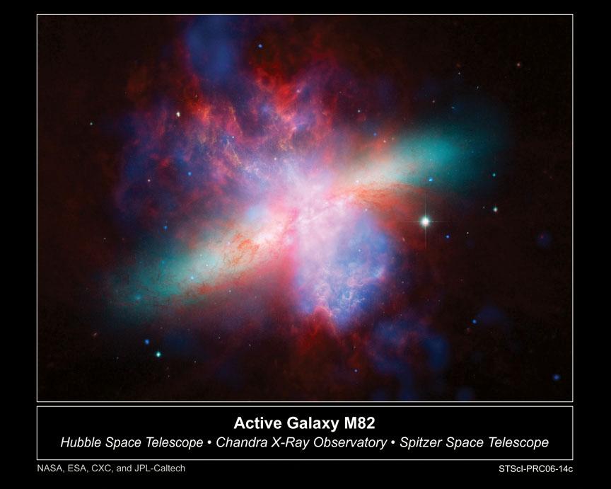 Galaxie M82. M82 je galaxií s velmi intenzivní tvorbou hvězd v centrální oblasti (rozměr oblasti tvorby hvězd je asi 1600 světelných let). Intenzivní záření, hvězdné větry  a výbuchy supernov vytvořily v galaxii ohromný oboustranný komín,  kterým horký plyn proudí pryč z disku. Tímto způsobem může z galaxie uniknout podstatné množství hmoty. Zelenou a žlutou barvou je zobrazen disk galaxie, červená přísluší ohřátému prachu, modrá horkému plynu.