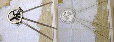 Použití kovového a plastového station pointeru. Zdroj: starpath.com.