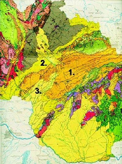 Pozice hlavních součástí vnějších Západních Karpat na územích  ČR a SR (1-flyšové pásmo, 2-karpatská předhlubeň, 3-vídeňská pánev). Zdroj: http://kurz.geologie.sci.muni.cz