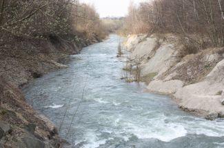 Kaňon řeky Morávky vytvořený erozí frýdeckého souvrství.