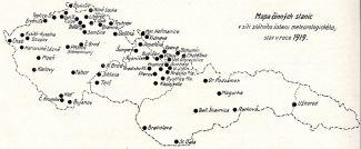 Mapa stanic Státního ústavu meteorologického z roku 1919