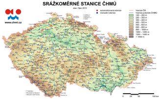 Mapa srážkoměrných stanic ČHMÚ v roce 2013