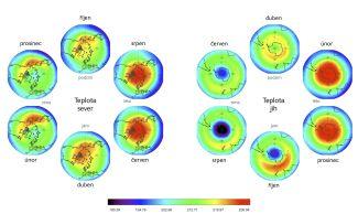 Horizontální rozložení teploty v hladině 100 hPa (cca 16 km) na severní a jižní polokouli.