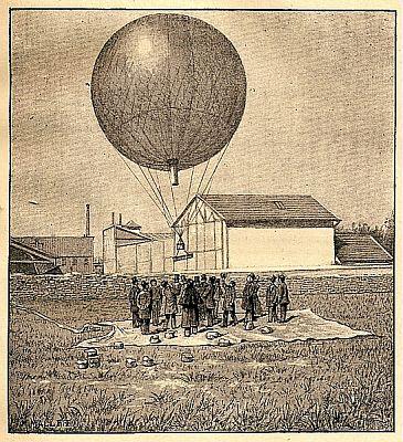 Ilustrace balónu, který vynalezl Gustave Hermit a který nesl přístroje pro záznam